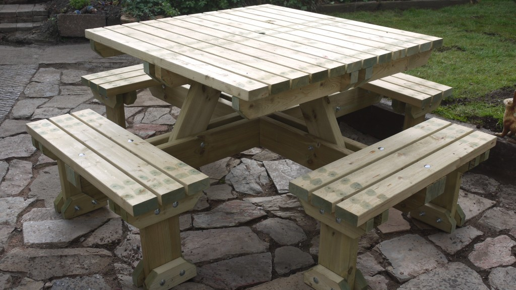 Multi seat picnic bench - The Wooden Workshop Bampton Devonable, can seat 8 people.