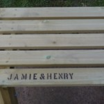 Free name branding on childs picnic bench The Wooden Workshop Devon
