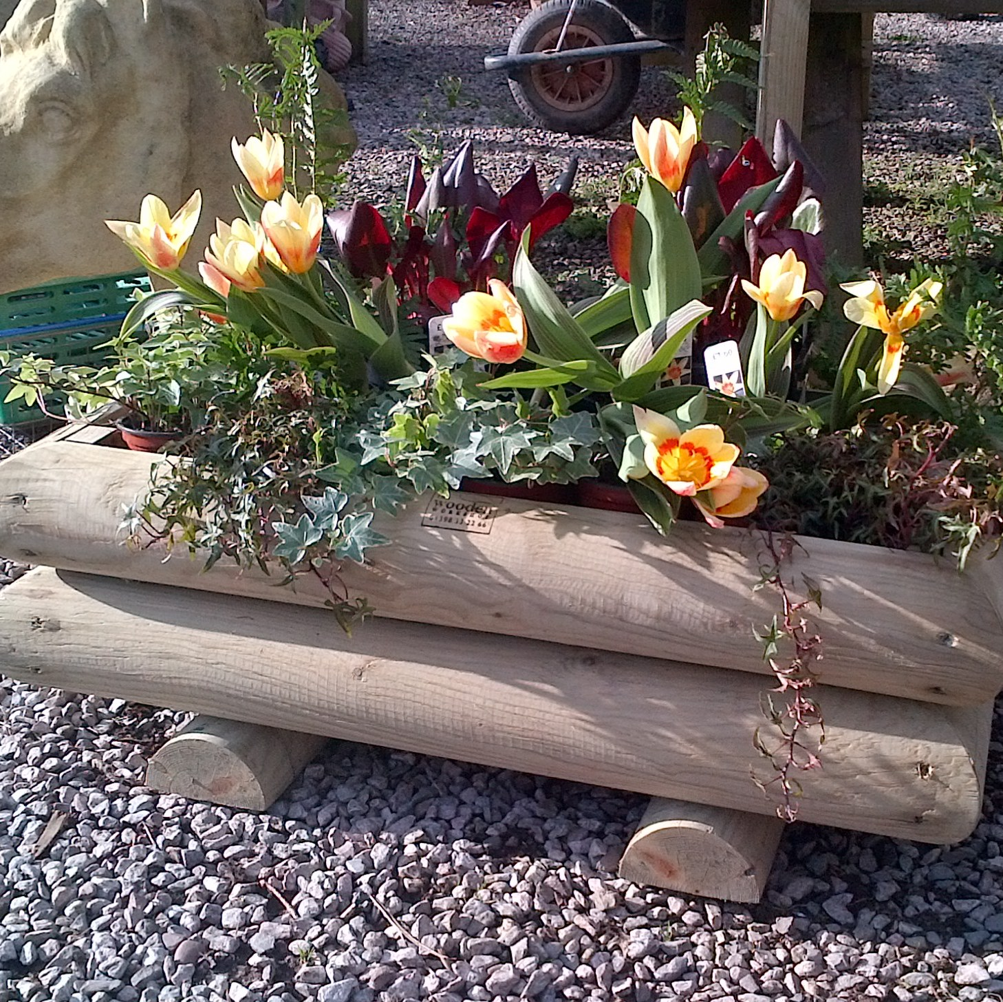 Garden Log Planters Small The Wooden Workshop