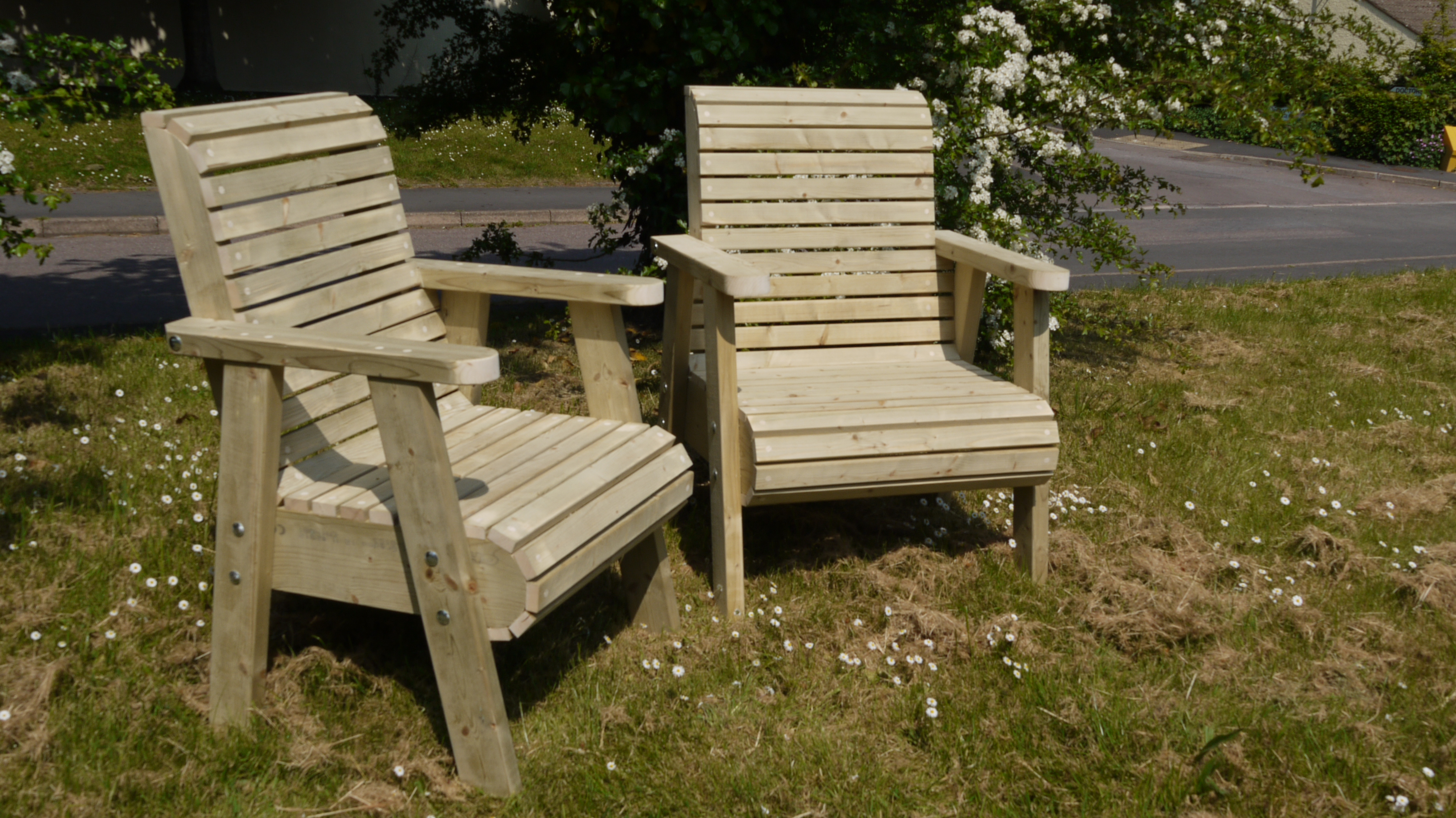 Bespoke Chunky Roll Top Garden Chairs - The Wooden Workshop Bampton ...