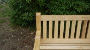 Memorial bench with engraving - The Wooden Workshop Bampton Devon