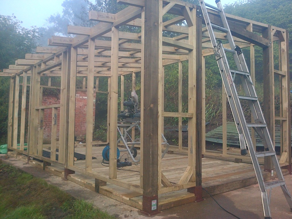 Rustic Shed Framework And Roof Supports The Wooden