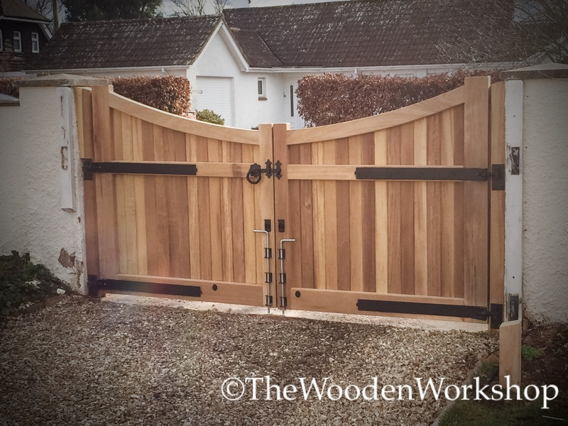 Iroko Curved Gates - The Wooden Workshop Oakford Devon