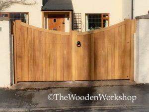 Iroko Curved Gates - The Wooden Workshop Oakford Devon