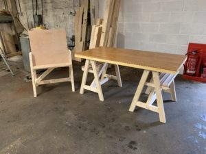 Art Easel Trestle tables - The Wooden Workshop Bampton Devon
