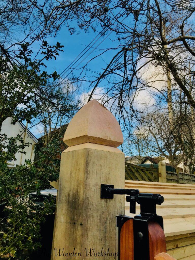 Oak Gate post shaping - The Wooden Workshop Bampton Devon