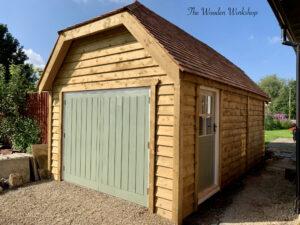 Timber hipped roof garage - The Wooden Workshop Devon